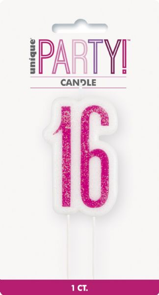 Glitz Pink Age 16 Candle